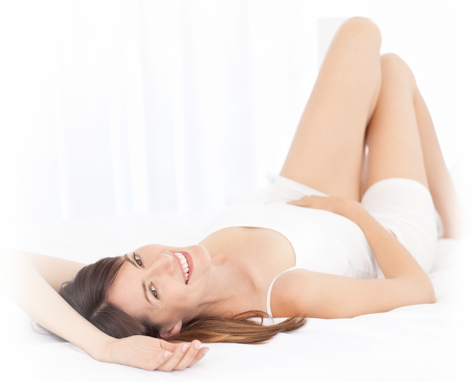 Woman In White Laying Down