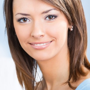 close up of female model with short brown hair