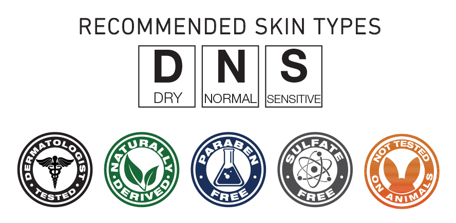 Recommended Skin Types; Dry, Normal, Sensitive